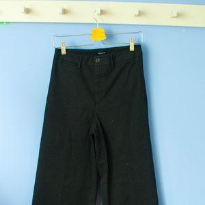 Frank & Oak Black Cropped Wide-Leg Pant